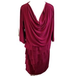 Plunging Tiered Dark Red Cocktail Dress Blouson
